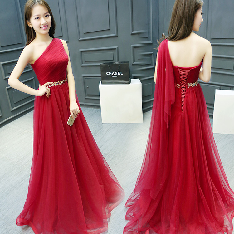 One Shoulder Red Prom Dress,A line Tulle Evening Dress,One Shoulder Party Dress,2018 Beaded Women Formal Gowns , Lace Up Graduation Gowns .Plus Size Gowns