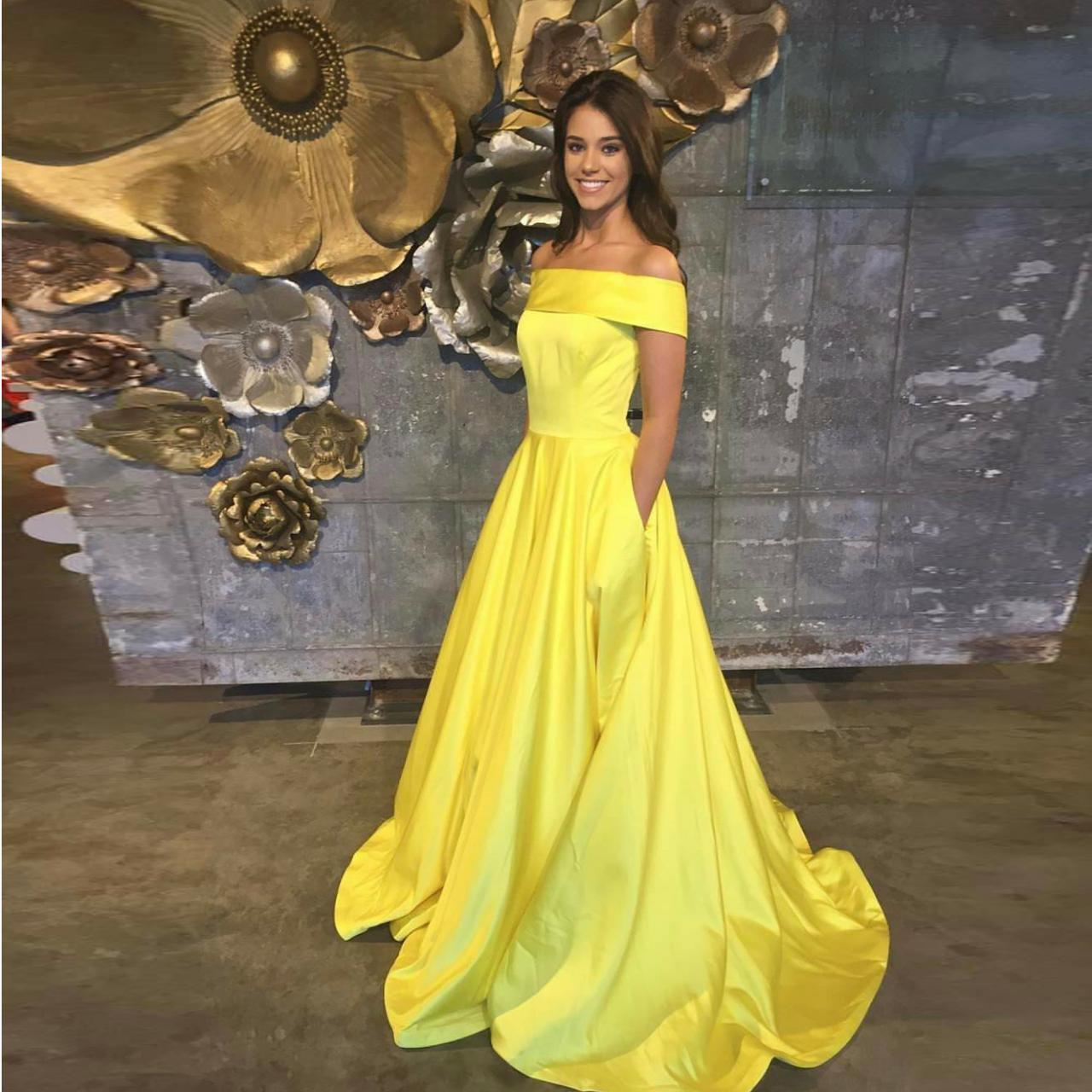 2018 Plus Size Yellow Satin Prom Dresses Off Shoulder Formal Party Dresses  A Line Arabic Long Evening Dress Yellow Wedding Party Gowns , Formal Party  ...