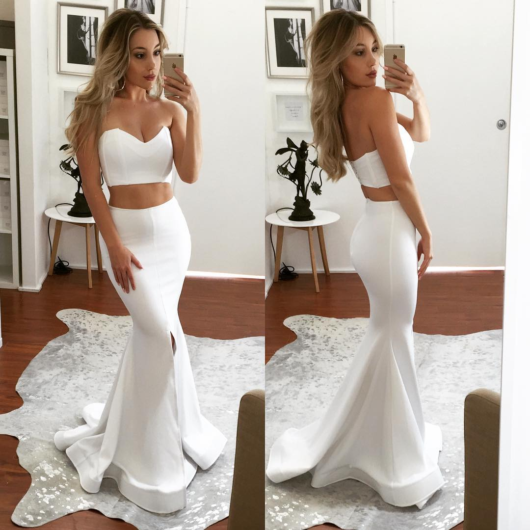 2018 Plus Size White Mermaid Prom Dresses Off Shoulder Floor Length Wedding Party Dresses, Formal Evening Gowns , White Prom Gowns , Long Pageant Gowns