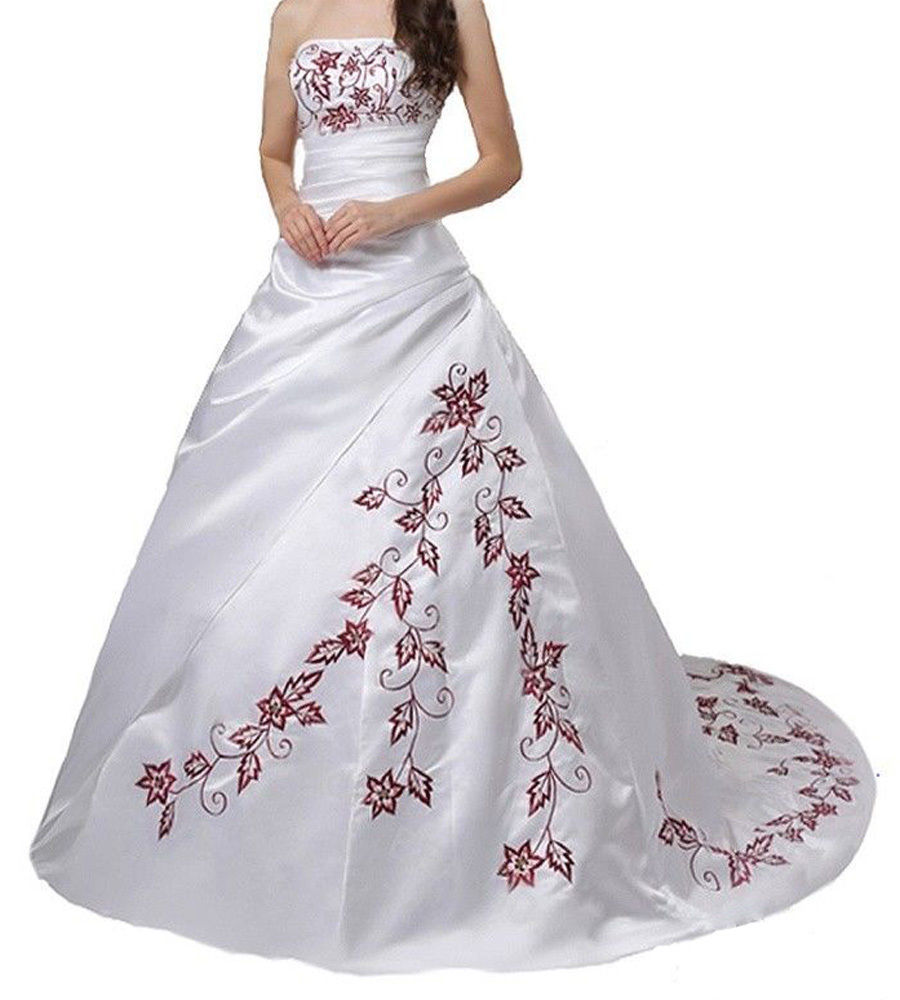 Plus Size Red Emboidery Wedding Dresses 2018 Custom Made White Satin China  Wedding Gowns Off Shoulder Bridal Gowns High Quality