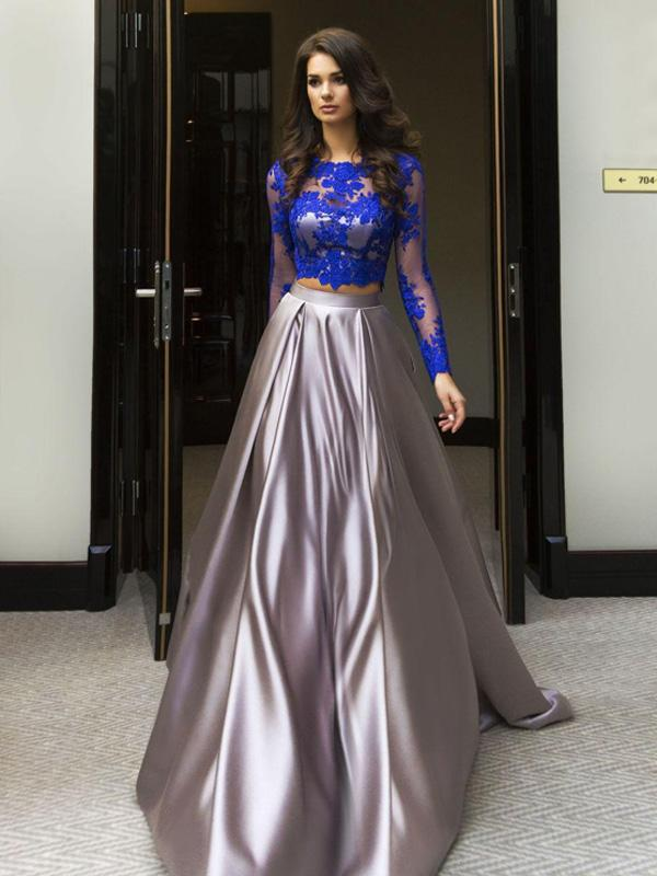 A-line Scoop Floor-length Prom Dresses,Long Sleeve Prom Dress, Elastic Woven Satin Prom Dress/Evening Dress,2018 Two Pieces Formal Prom Dresses