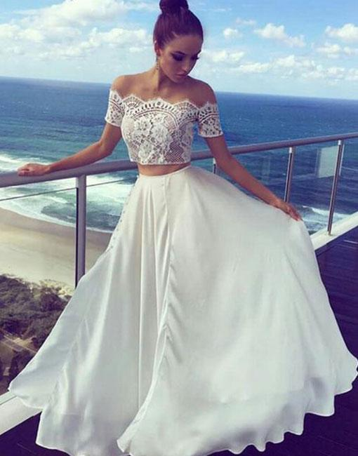 Two Pieces Off The Shoulder Prom Dresseslong Prom Dressescheap