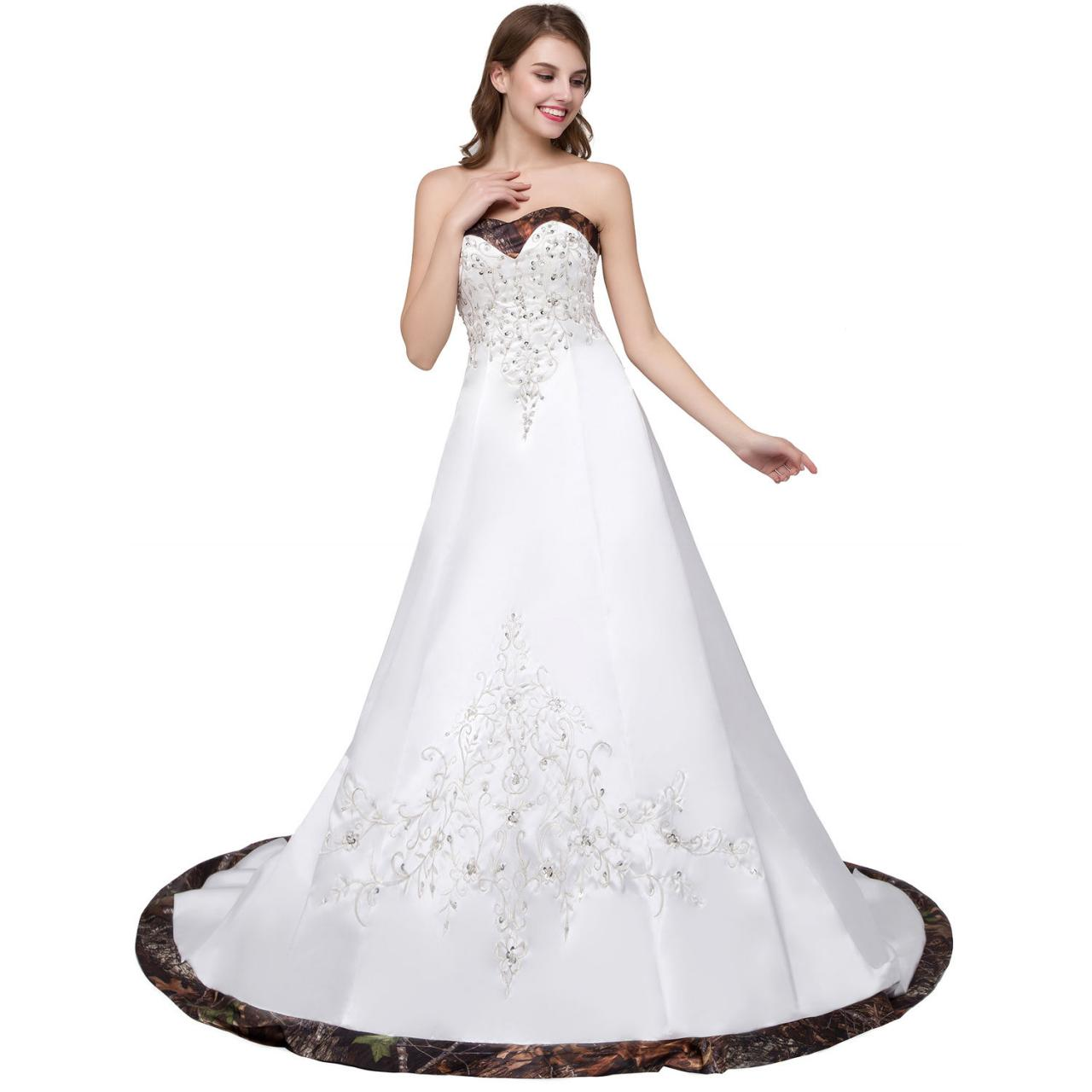 2018 New Arrival Sweetheart Camo Wedding Dresses Satin Chapel Train ...