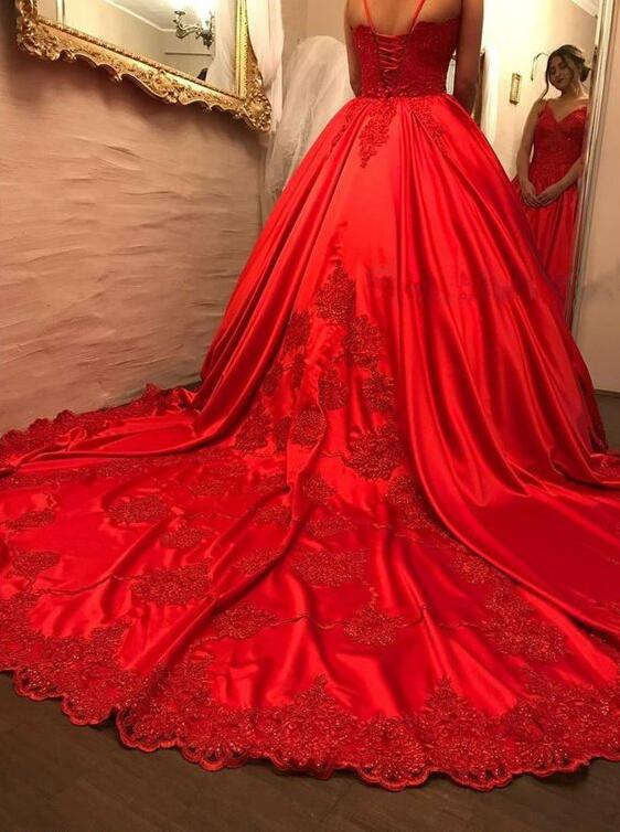 elegant red prom dresses , chic v-neck ball gowns , fashion quinceanera dresses, red formal gowns with train,Evening Dresses,Prom Gowns, Formal Women Dress,Red Satin Wedding Dresses