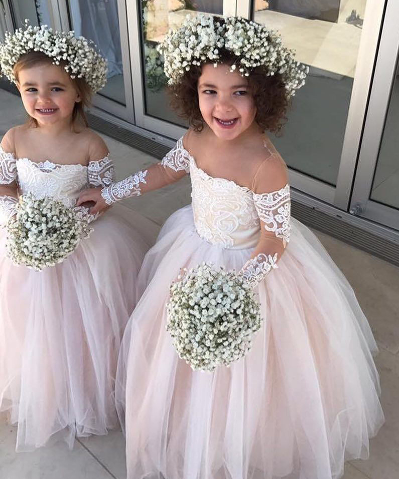 4691a0352de New Arrival Lace Flowers Girls Dresses Sexy Sheer Kids White Satin Wedding  Children Dresses 2018
