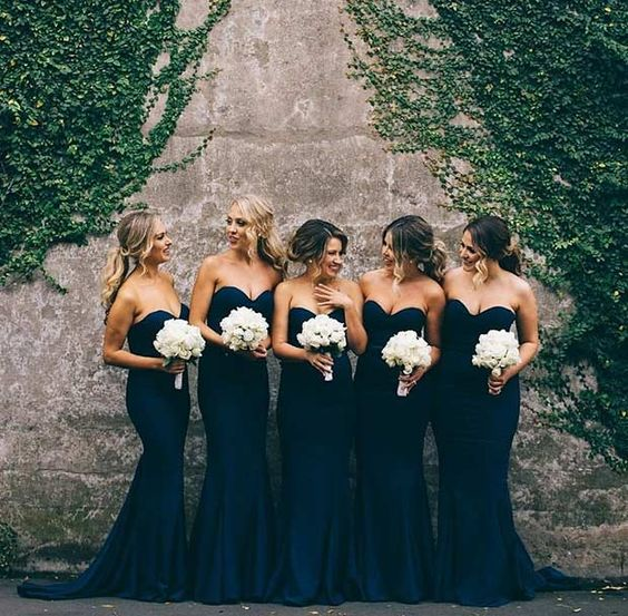 Navy Blue Bridesmaid Dress Strapless Mermaid Dresses 2018 Plus Size Sweetheart Wedding Party Gowns
