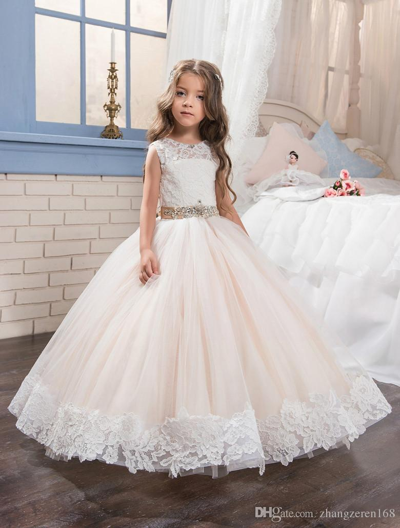 2018 New Arrival White Lace Flower Girls Dresses Off Shoulder ...