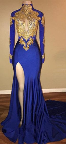 Elegant Royal Blue 2018 Prom Dress Mermaid Long Sleeve With Applique Custom  Made Long Prom Gowns  55bf39b2603f