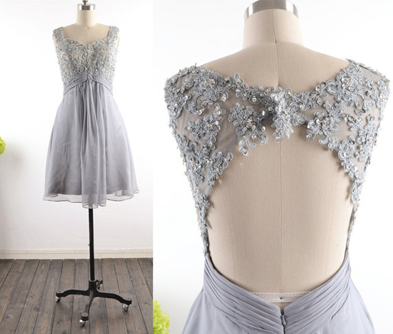 Sleeveless Lace Appliqués Short Homecoming Dress, Cocktail Dress, Party Dress.2018 Shiny Sliver Beaded Mini Prom Dress, Graduation Dress Mini