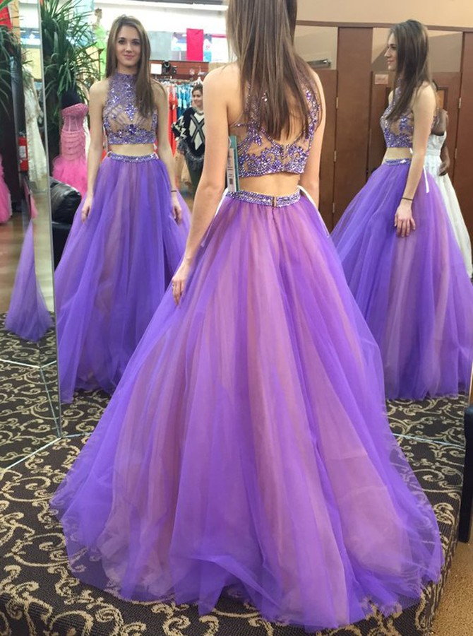 Halter Neck Beaded Two Piece Purple Prom Dresses, Wedding Party Dresses, Graduation Party Dresses, Formal Dresses,2018 Plus Size Girls Wedding Gowns