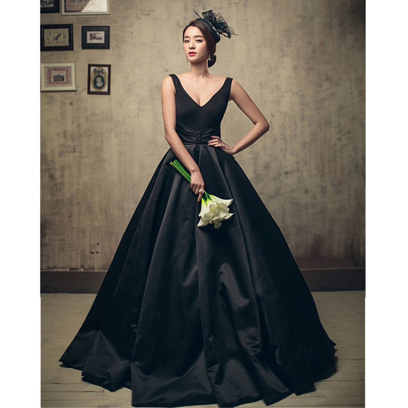 2018 Black Satin Ruffle Long Prom Dresses Off Shoulder Ball Gowns ...