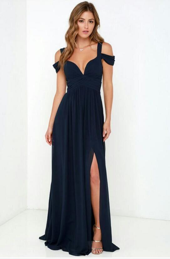 2018 Elegant Women S Bridesmaid Dresses A Line Off Shoulder Chiffon Full Length Wedding Party Maid Honor Of The Dress Y Navy Blue Long