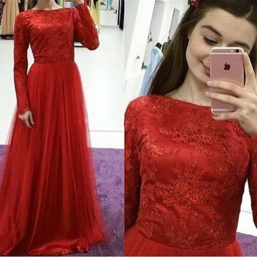 Red Long Sleeve Lace Women Evening Party dress A Line Tulle Custom Formal Gown 2018 Plus Size Tulle Prom Dresses, Wedding Women Gowns ,Girls Pageant Gowns