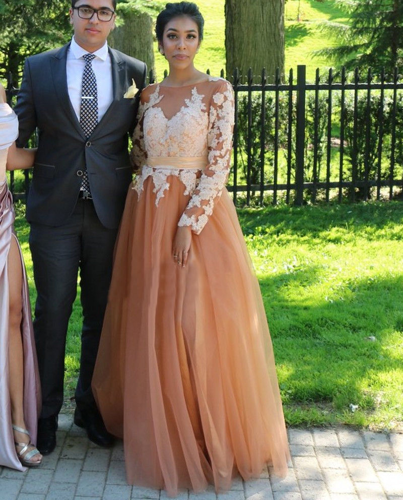 Long Sleeeve Brown Tulle African Prom Dresses Ivory Applique Evening ...
