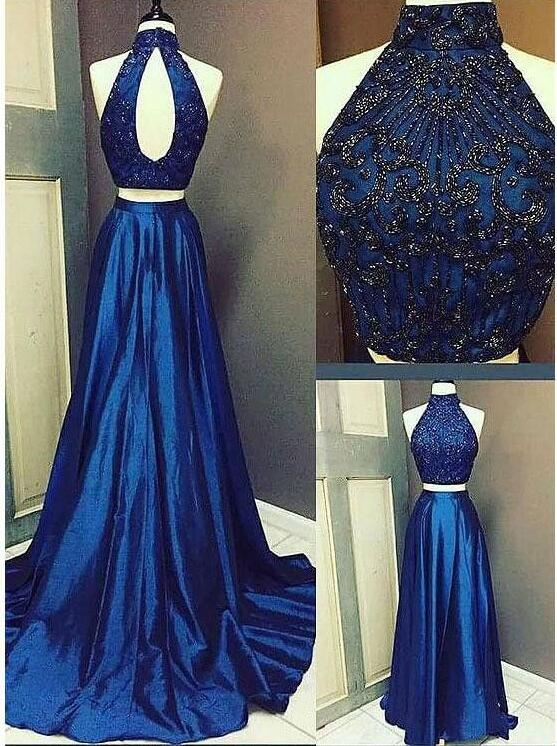 Halter Royal Blue Beaded Evening Dress, Sexy Two Piece Long Prom Dresses,2018 Satin Long Evening Dress, Plus Size Wedding Party Dress