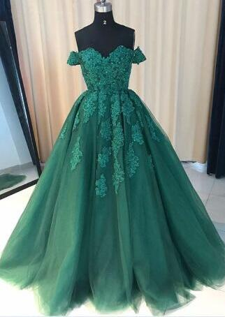 Beautiful Green Prom Dress Y Lace Tulle Gown Wedding Off The Shoulder Beading Evening Dresses 2018 Plus Size