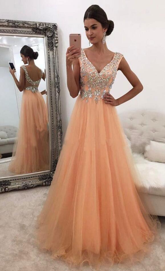 Sexy V-neck Prom Dress,Tulle Prom Dress,Cheap Prom Dress,Beading Prom Dress,Shinny Rhinestone Beaded Long Prom Dresses,Tulle Sleeveless Evening Dress