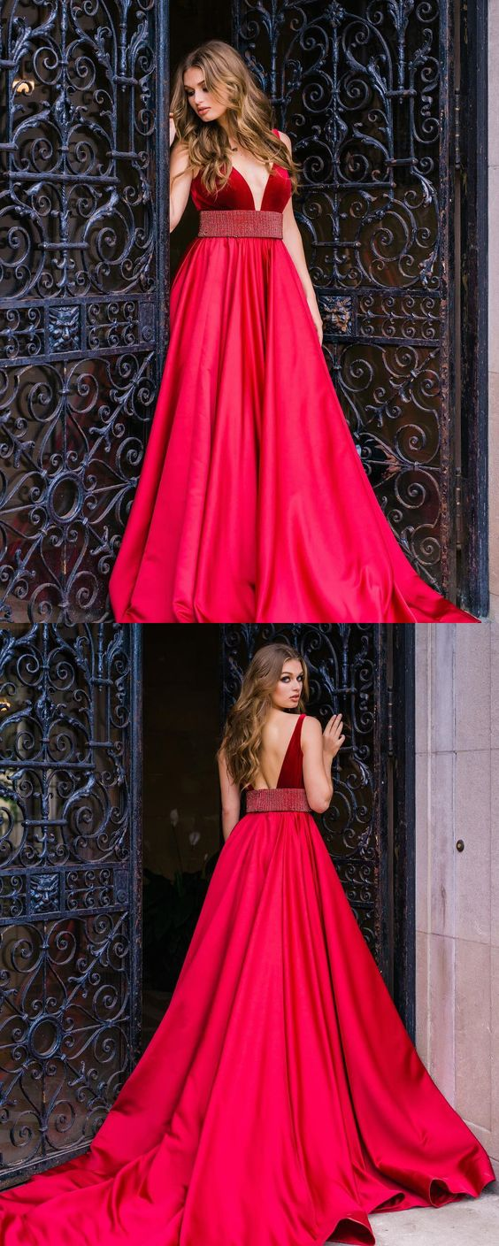 Plus Size Red Evening Dresses Sexy Backless Formal Prom Dresses Off