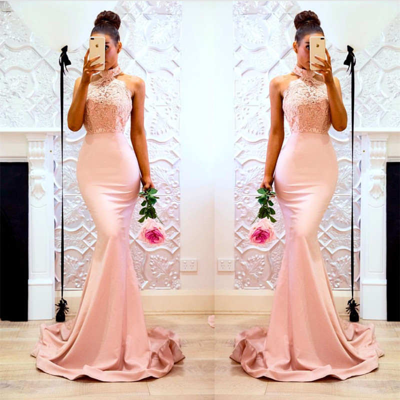 halter prom dress,blush pink mermaid dress,long bridesmaid dress,elegant evening gowns.2018 Plus Size Mermaid Prom Dresses, Wedding Party Gowns , Girls Gowns