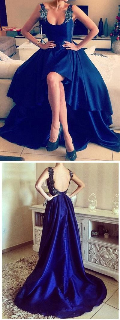 Hi-lo prom dress,Royal Blue prom dresses,Charming prom dress,Sleeveless evening dress,Handmade prom dresses,New Arrival Prom Dress,Plus Size Women Party Gowns
