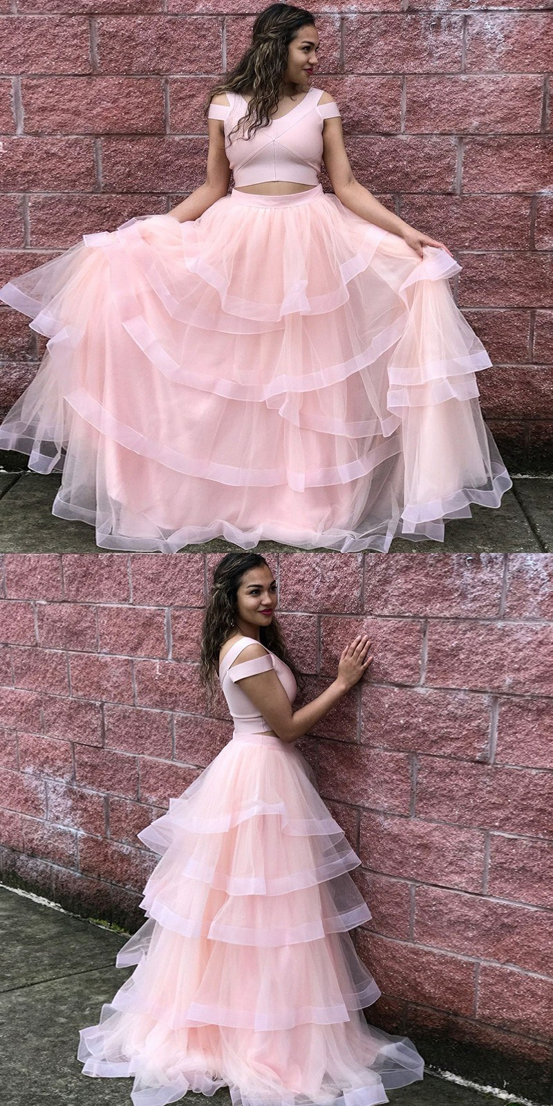 4b0dc768adb34 Princess Two Piece Pink Long Prom Dress,Tulle Evening Dresses, 2 Pieces  Cocktail Dresses ,2018 Long Evening Dress, Formal Lady Gowns