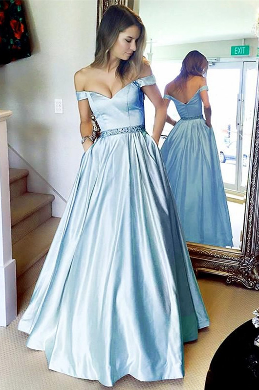 Simple A-line Off The Shoulder Sky Blue Long Prom Dress With Pocket ... 600fe248e