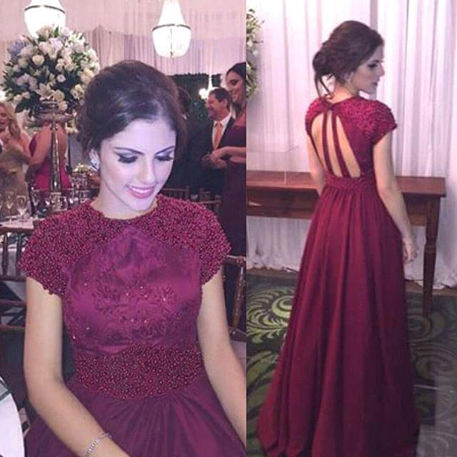 8aa83a06b0 Modest Burgundy Prom Dress
