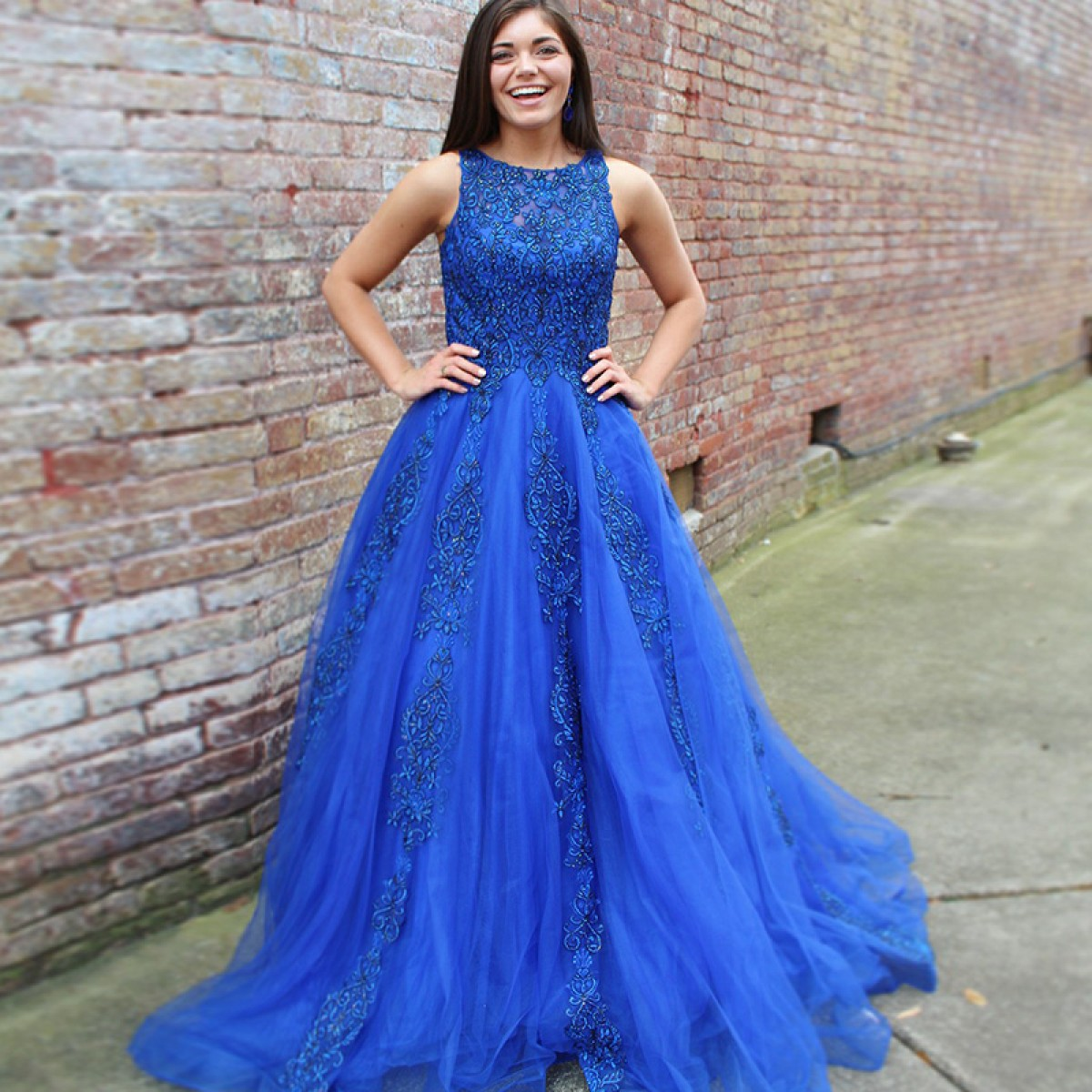 A-Line Round Neck Sweep Train Royal Blue Prom Dress With Lace Beading,2018  New Arrival Beaded Women Party Dresses, Plus Size Wedding Guest Gowns