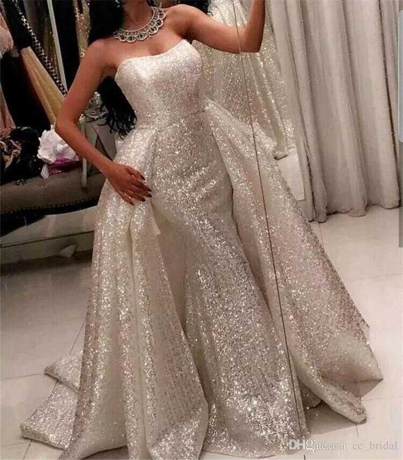 56f61f9db71ba Sparkly White Saudi Arabic Prom Dresses 2108 Detachable Over Skirt Sweep  Train Mermaid Formal Dress Evening Wear Newest Sequined Party Gowns, Shiny  Women ...