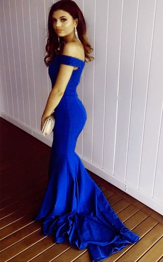 Royal Blue Evening Gowns Off The Shoulder Mermaid Prom Dresses 2018 ...