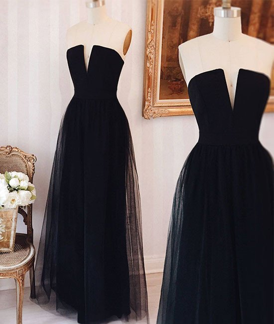New Arrival Elegant Simple Tulle Black Long Prom Dress, Black Formal ...