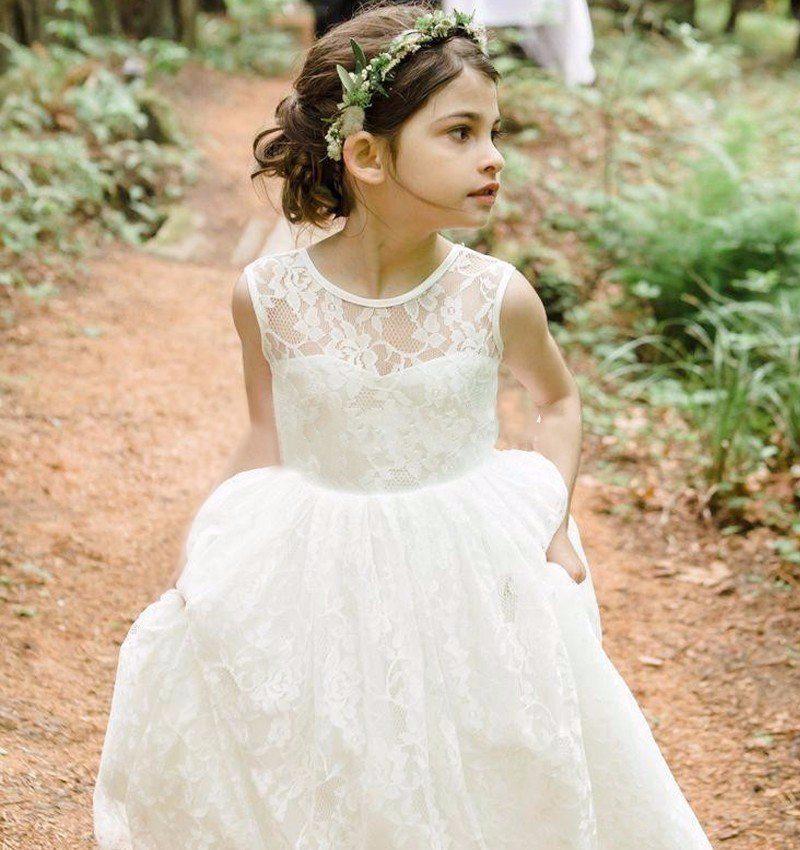 Backless Long Lace Flower Girl Dresses Kids Party Gowns For Weddings ...