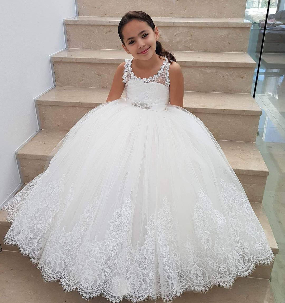 New Arrival White Lace Flower Girls Dresses, Plus Size Child Gowns ...