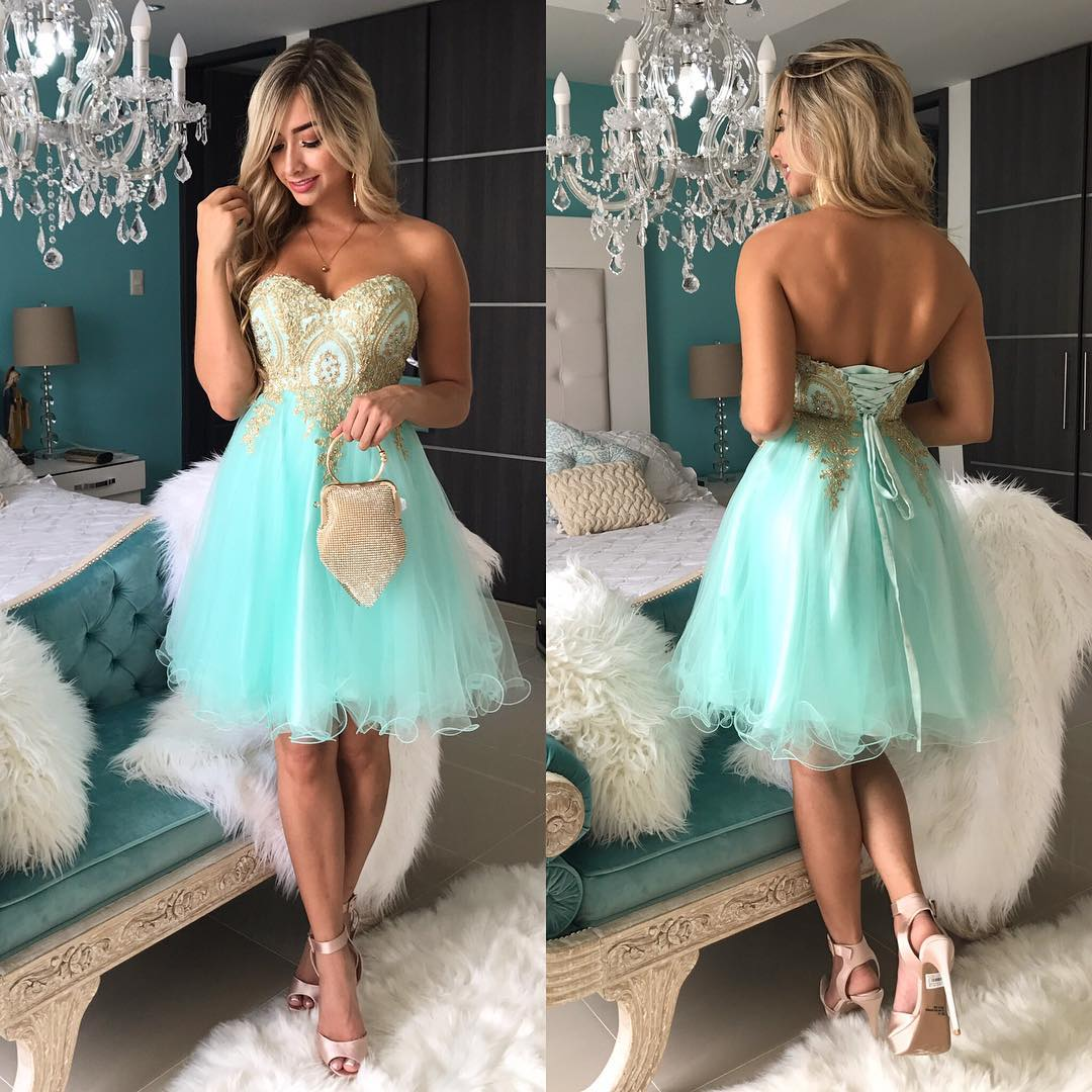 2018 Green Short Prom Dresses,Off SHoulder Gold Lace Prom Dresses, Mini  Party Dresses,Girls Pageant Gowns ,Plus Size Women Party Gowns ,Wedding  Guest ...
