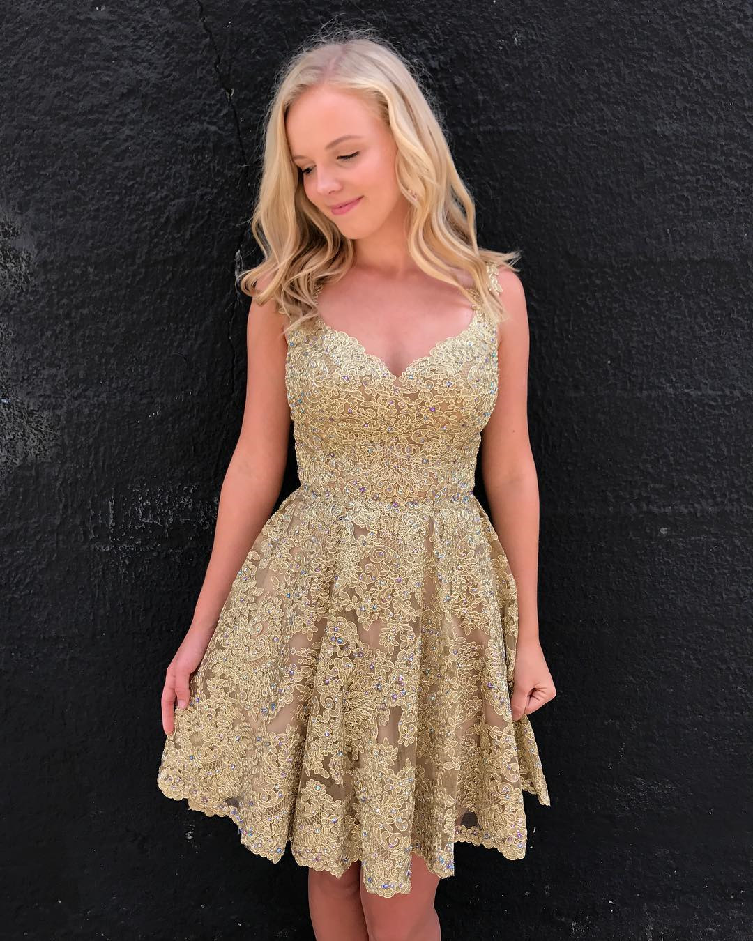 New Arrival Gold Lace Short Prom Dresses 2018 Sexy Sweetheart Mini ...
