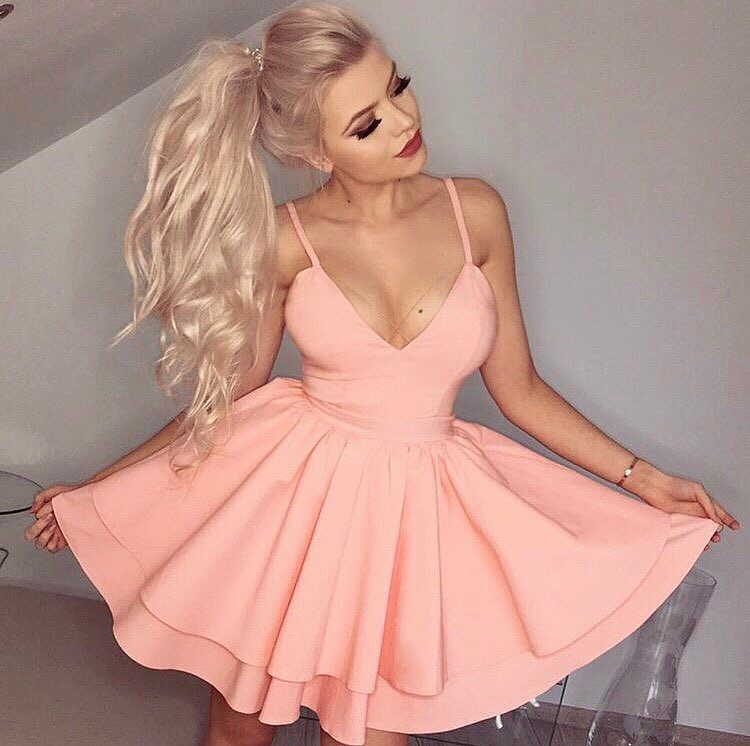 V-Neck Short Satin Homecoming Dress With Layered Skirt,2018 Plus ...