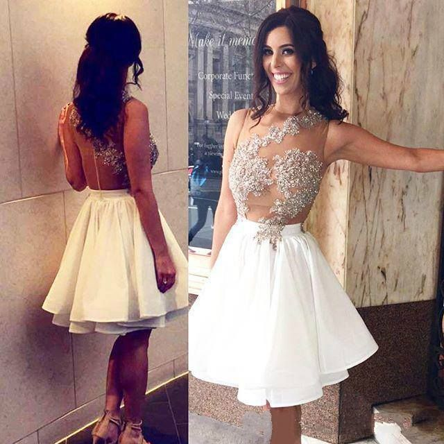 18fe9e1254d White Homecoming Dress Sexy Appliques Chiffon Short Prom Dress Party Dress,2018  Sexy Sheer Neck Short Homecoming Dresses, White Chiffon Graduation Gowns ...