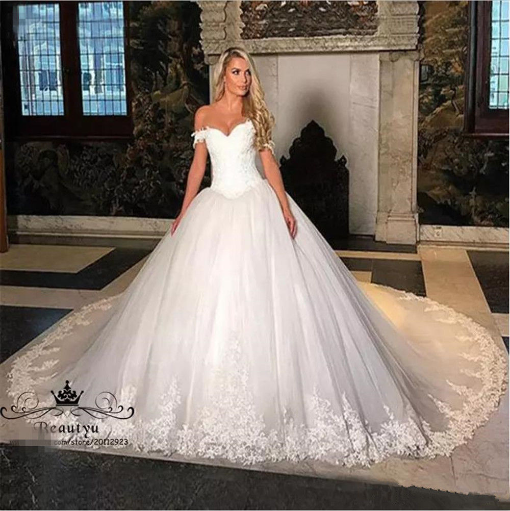 e5611cd8e53b Gorgeous Cathedral Train Lace Tulle Wedding Dress Off Shoulder White Bridal  Gown, White Pricess Wedding Dresses,Lace Appliqued Bridal Gowns .
