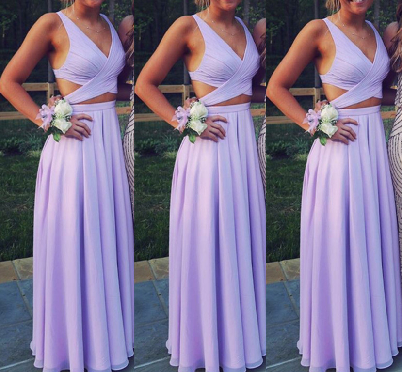 Beautiful Lavender Two Piece Chiffon Prom Dresses, Long Two Piece ...