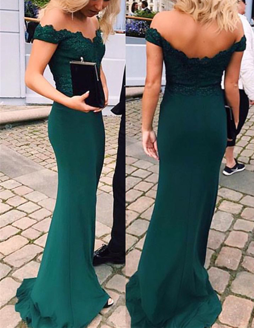84d25e5c61eb Off Shoulder Emerald Green Prom Dress