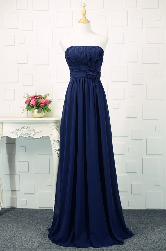 fb476c5e19 Navy Blue Floor Length Bridesmaid Dresses