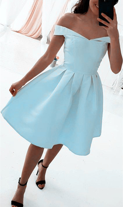 ae442ce5c32 Off Shoulder Simple Light Blue Party Dress