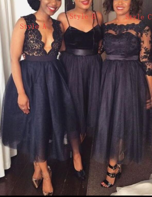 Mismatch Black Tea Length Bridesmaid Dress, Black Wedding Party Dresses,  Tulle And Lace Party Dress,Plus Size Wedding Bridesmaid Dresses, Women  Party ...