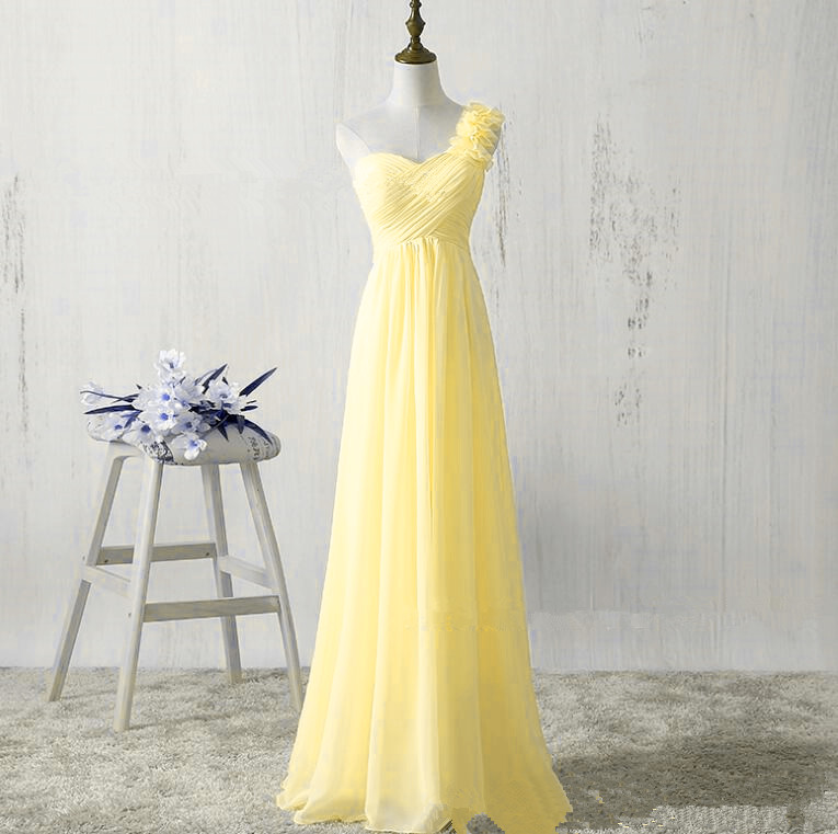 d140e3f483 One Shoulder Yellow Chiffon Bridesmaid Dresses