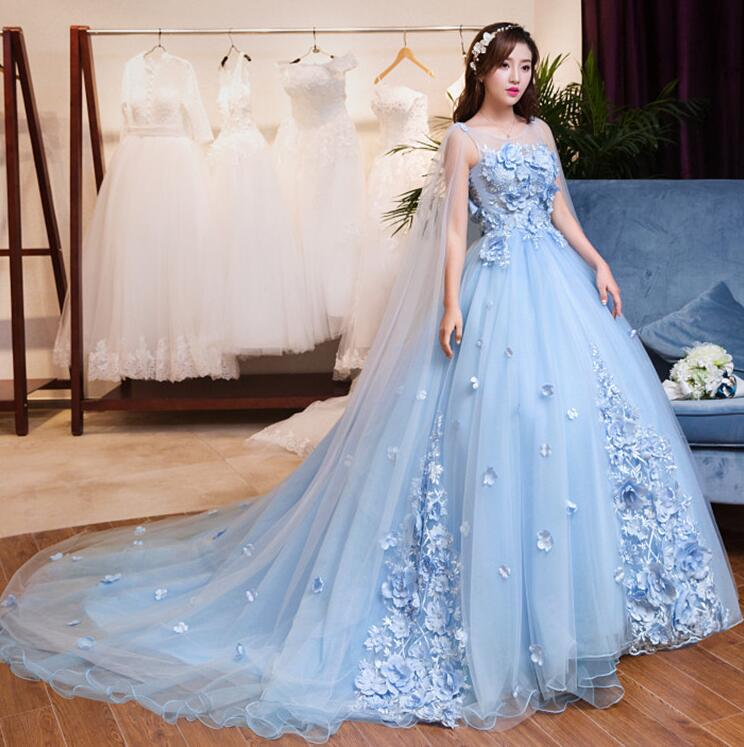 Ball Gown Light Blue Elegant Wedding Dresses Sheer Scoop