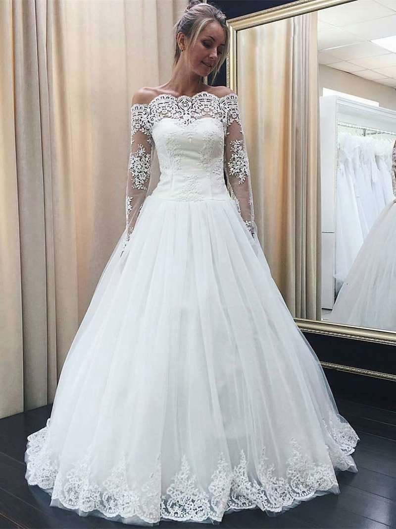 Off The Shoulder Long Sleeves Lace Appliqued Wedding Dresses ...