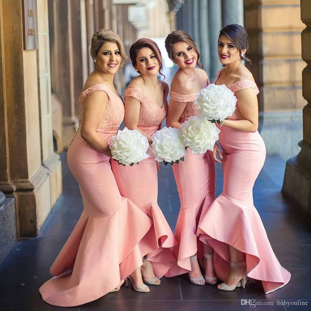 fb4a1f85974 New Arabic Sweetheart Off Shoulders Bridesmaid Dresses Backless Lace Bodice  High Low Dubai Ruffle Skirt Maid of the Honor Dresses