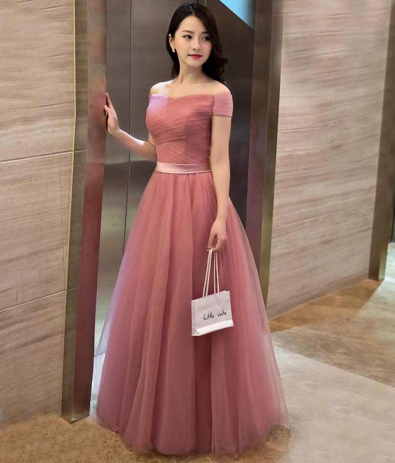 76666c48139 Elegant Pink A Line Off Shoulder Tulle Long Prom Dress
