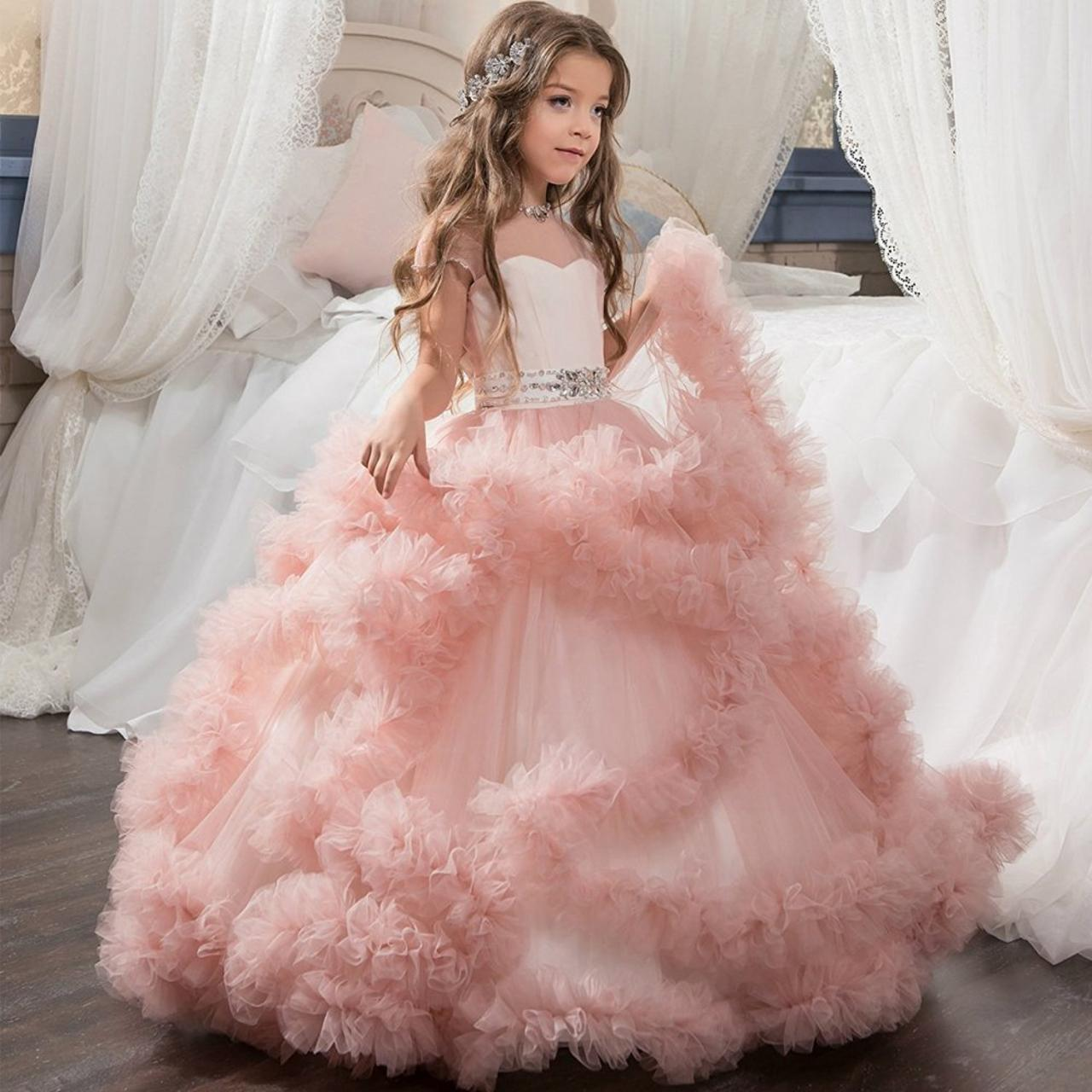 2018 Fluffy Flower Girl Dress With Flowers Lace Wedding Flowers ...
