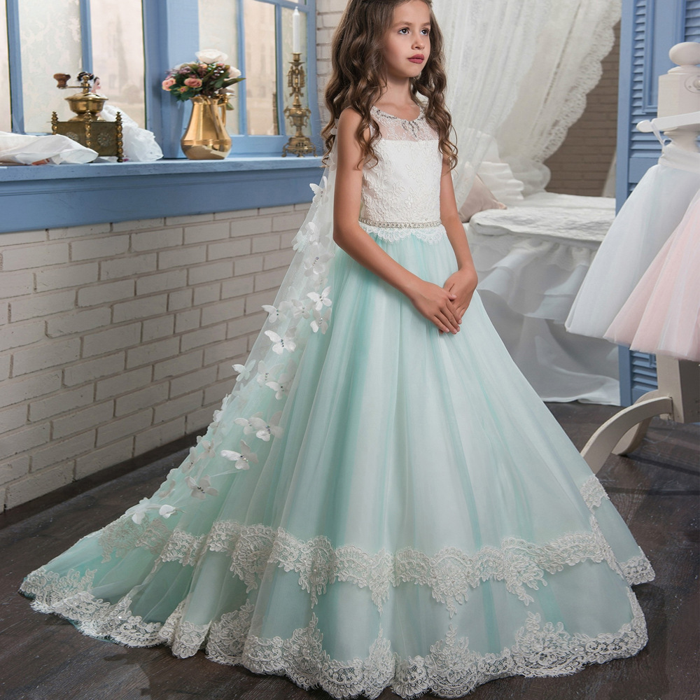Formal Beautiful Kids Children Lace Long Flower Girl Dresses .Flower ...